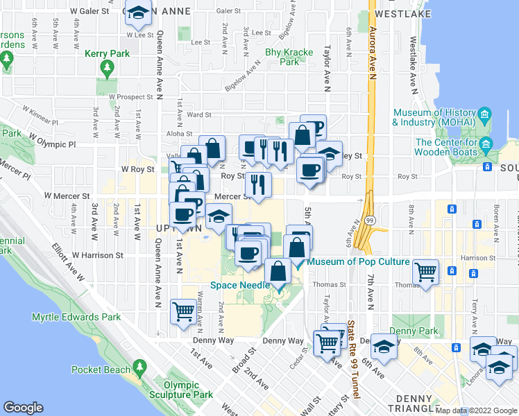 map of restaurants, bars, coffee shops, grocery stores, and more near 321 Mercer Street in Seattle