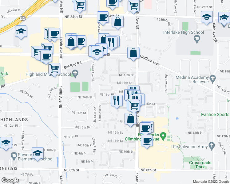 map of restaurants, bars, coffee shops, grocery stores, and more near 15207 Northeast 16th Place in Bellevue