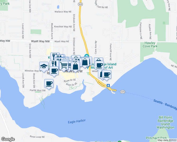 map of restaurants, bars, coffee shops, grocery stores, and more near Winslow Way East in Bainbridge Island