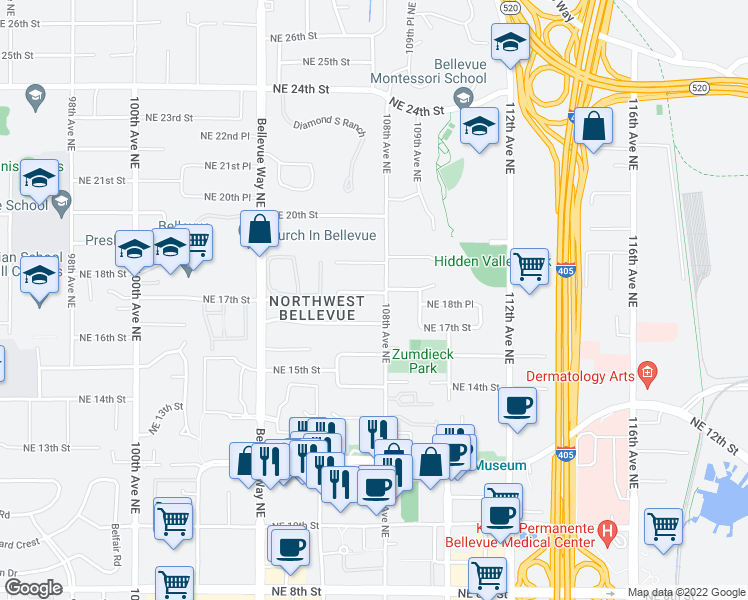 map of restaurants, bars, coffee shops, grocery stores, and more near 10633 Northeast 18th Street in Bellevue