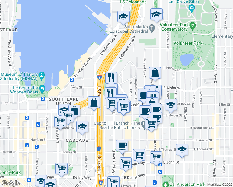 map of restaurants, bars, coffee shops, grocery stores, and more near 740 Bellevue Avenue East in Seattle