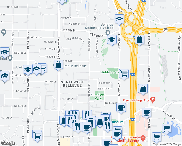 map of restaurants, bars, coffee shops, grocery stores, and more near 10807 Northeast 19th Place in Bellevue