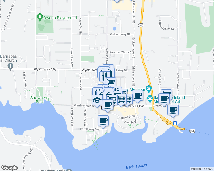 map of restaurants, bars, coffee shops, grocery stores, and more near in Bainbridge Island