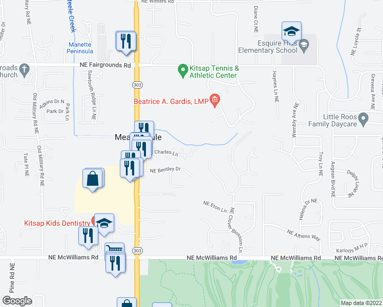 map of restaurants, bars, coffee shops, grocery stores, and more near 1888 Northeast Bentley Drive in Bremerton
