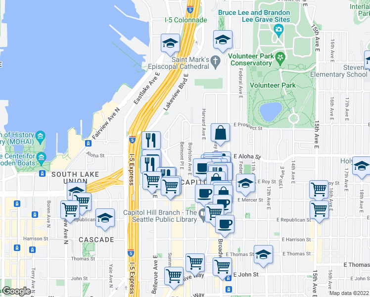 map of restaurants, bars, coffee shops, grocery stores, and more near 768 Belmont Place East in Seattle