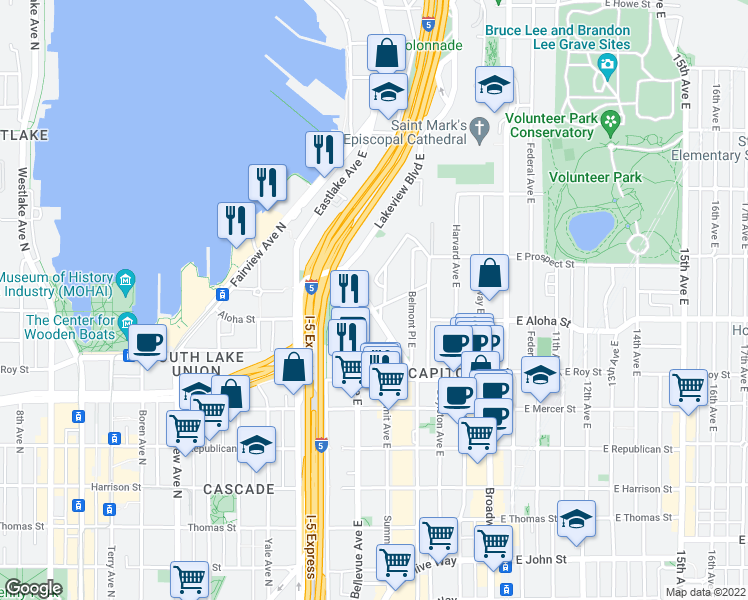 map of restaurants, bars, coffee shops, grocery stores, and more near 1004 Belmont Avenue East in Seattle