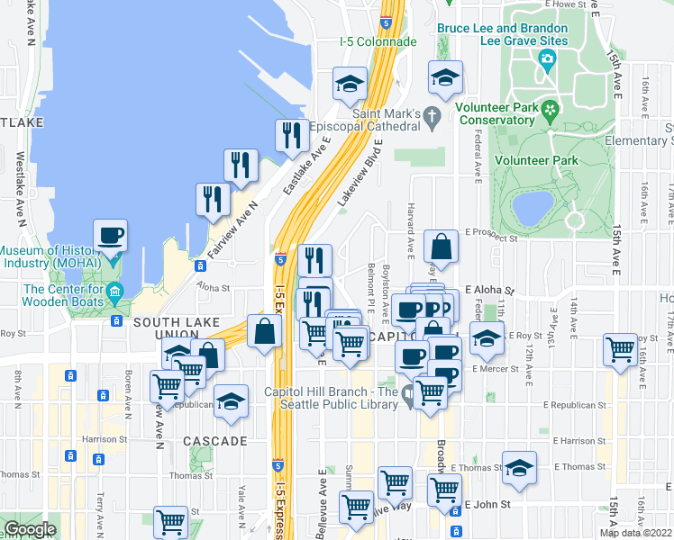 map of restaurants, bars, coffee shops, grocery stores, and more near 1004 Belmont Ave E in Seattle