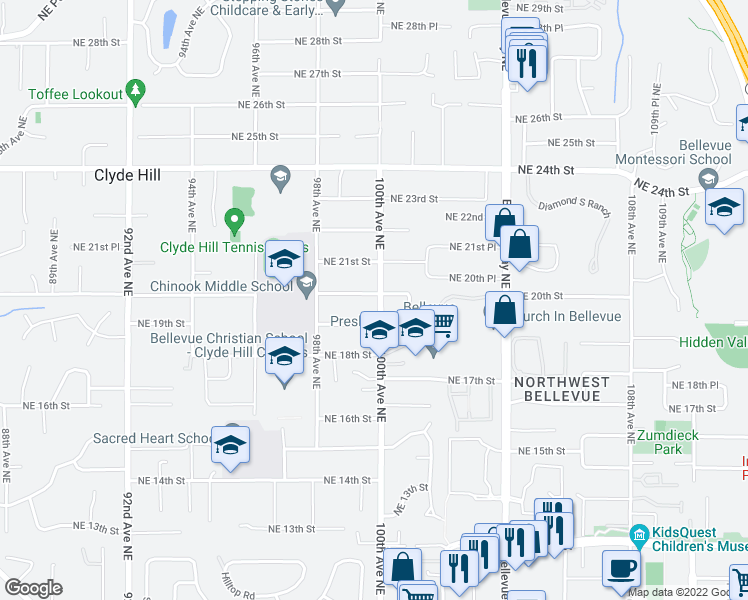 map of restaurants, bars, coffee shops, grocery stores, and more near 9857 Northeast 20th Street in Bellevue