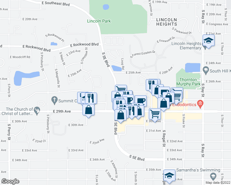 map of restaurants, bars, coffee shops, grocery stores, and more near 2509 East 29th Avenue in Spokane