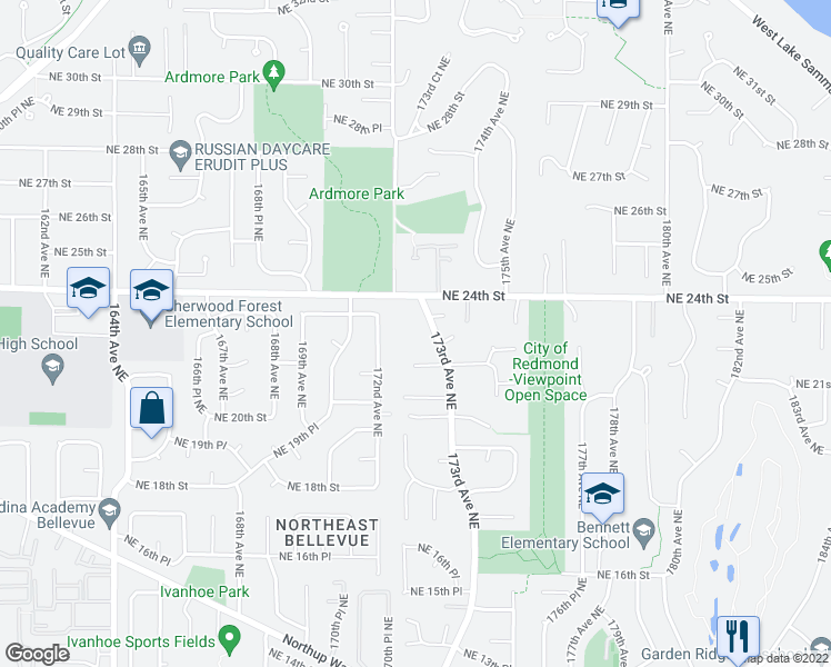 map of restaurants, bars, coffee shops, grocery stores, and more near 2321 173rd Avenue Northeast in Redmond