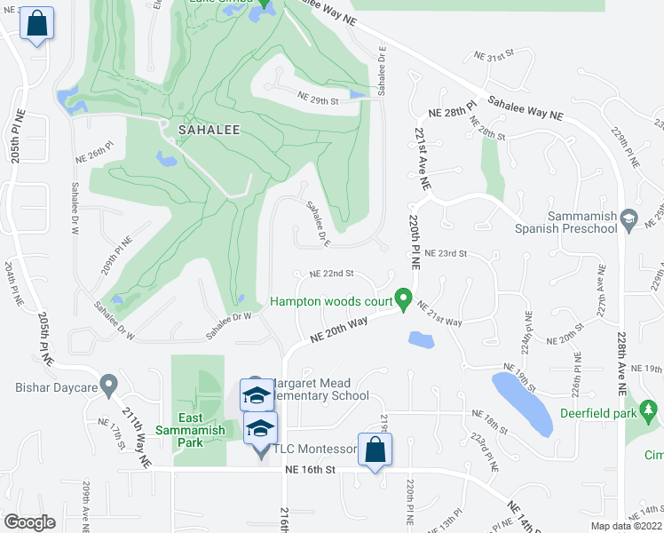 map of restaurants, bars, coffee shops, grocery stores, and more near 21718 Northeast 22nd Street in Sammamish