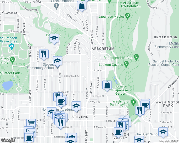 map of restaurants, bars, coffee shops, grocery stores, and more near 1228 23rd Avenue East in Seattle