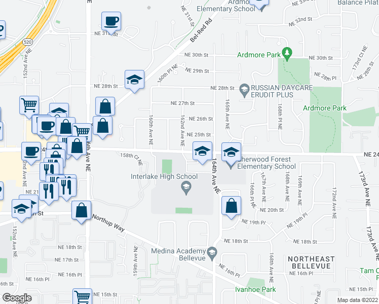 map of restaurants, bars, coffee shops, grocery stores, and more near 16201-16221 Northeast 24th Street in Bellevue