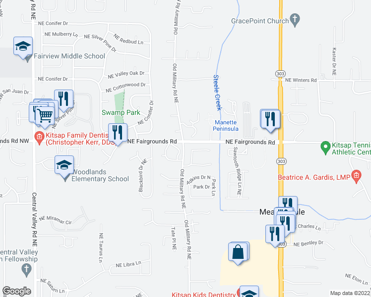 map of restaurants, bars, coffee shops, grocery stores, and more near 1100-1242 Northeast Fairgrounds Road in Bremerton