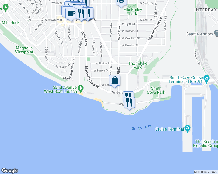 map of restaurants, bars, coffee shops, grocery stores, and more near 2901 West Eaton Street in Seattle