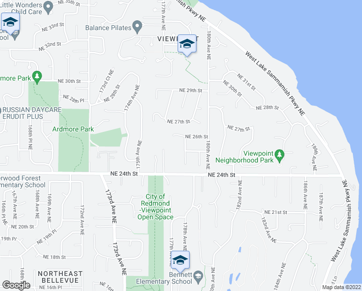 map of restaurants, bars, coffee shops, grocery stores, and more near 2509 178th Avenue Northeast in Redmond