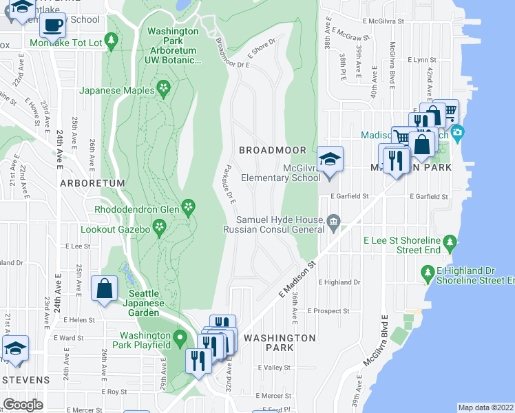 map of restaurants, bars, coffee shops, grocery stores, and more near 1514 Shenandoah Drive East in Seattle