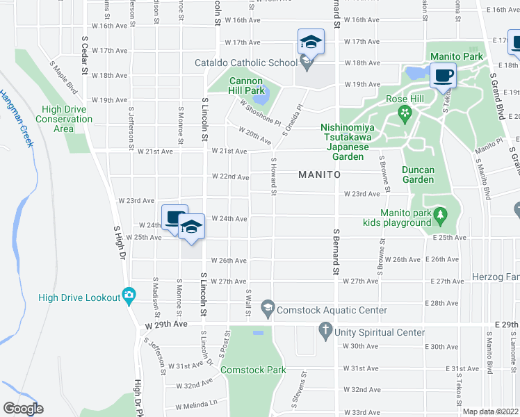 map of restaurants, bars, coffee shops, grocery stores, and more near 618 W 24th Ave in Spokane
