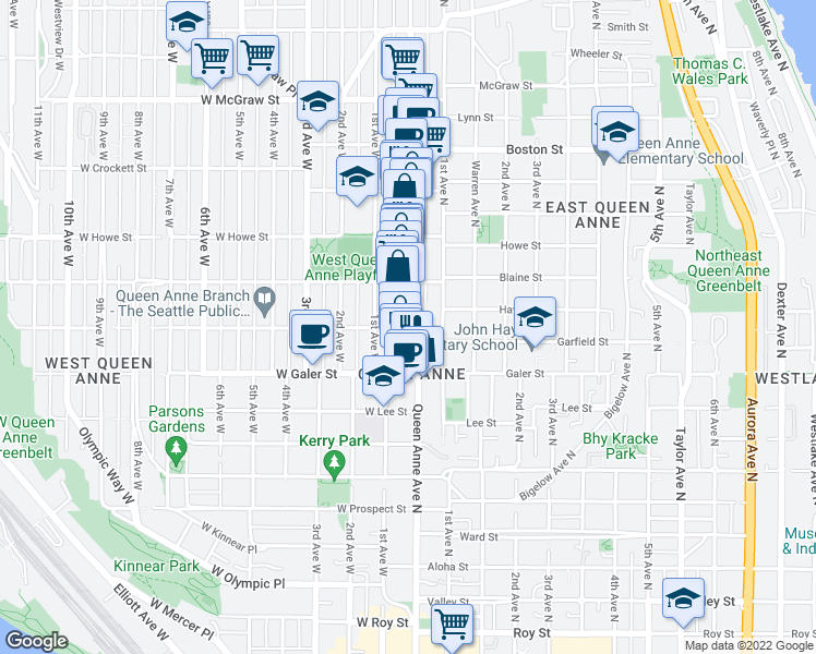 map of restaurants, bars, coffee shops, grocery stores, and more near 4 West Garfield Street in Seattle
