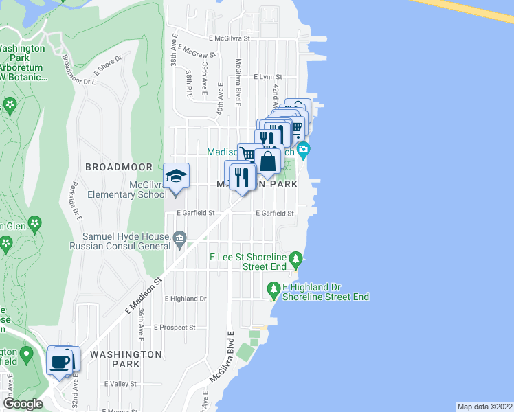 map of restaurants, bars, coffee shops, grocery stores, and more near 1606 41st Avenue East in Seattle