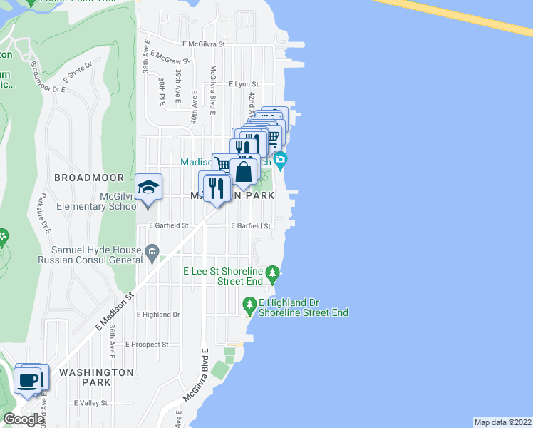 map of restaurants, bars, coffee shops, grocery stores, and more near 1615 43rd Avenue East in Seattle