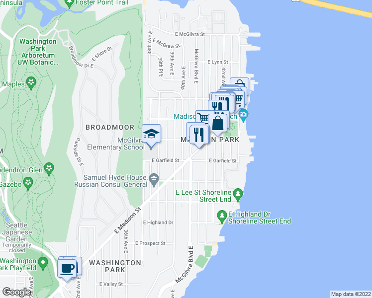 map of restaurants, bars, coffee shops, grocery stores, and more near 1615 McGilvra Boulevard East in Seattle
