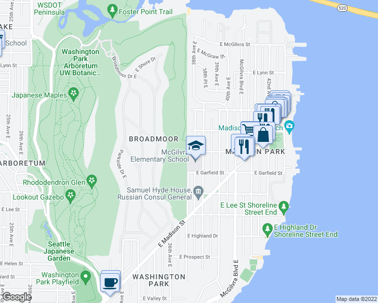 map of restaurants, bars, coffee shops, grocery stores, and more near East Blaine Street in Seattle