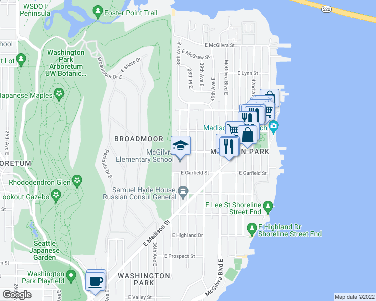 map of restaurants, bars, coffee shops, grocery stores, and more near 1617 38th Avenue East in Seattle