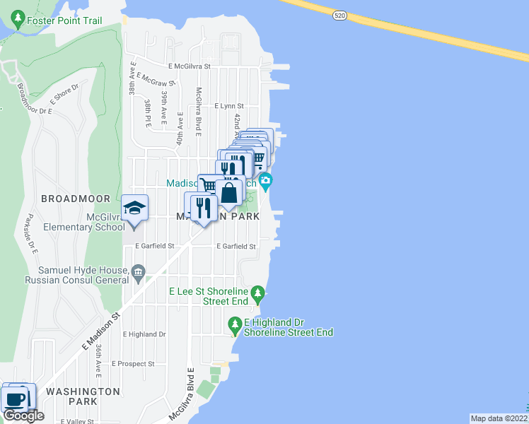 map of restaurants, bars, coffee shops, grocery stores, and more near 1800 43rd Avenue East in Seattle