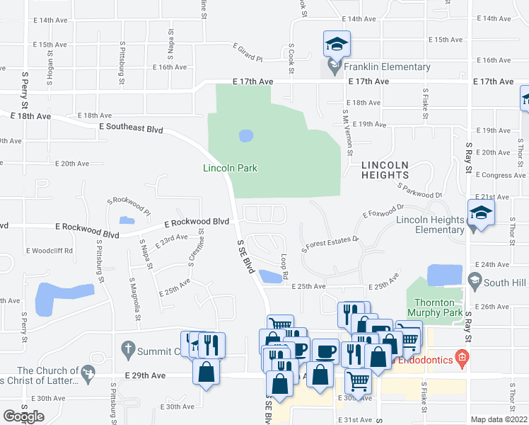 map of restaurants, bars, coffee shops, grocery stores, and more near 2265 South Southeast Boulevard in Spokane