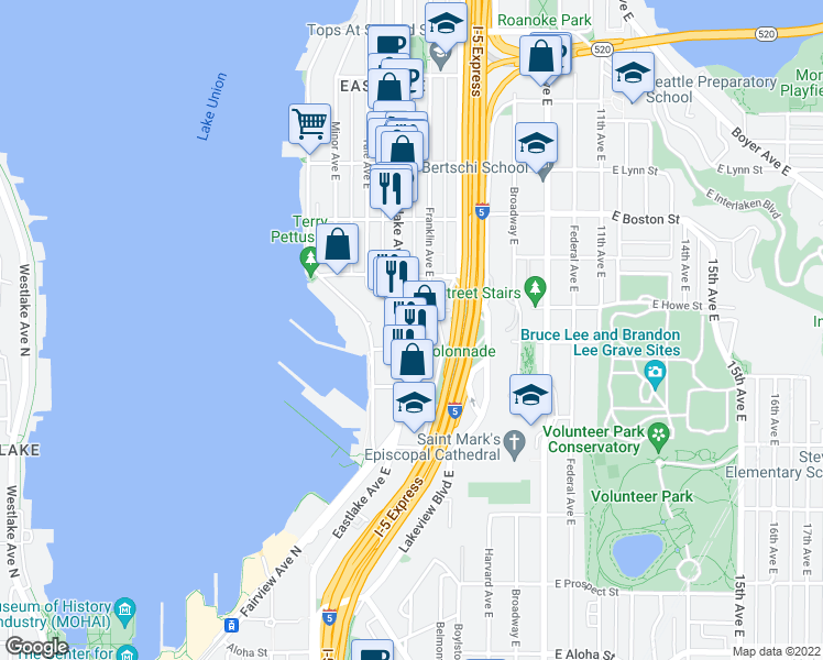 map of restaurants, bars, coffee shops, grocery stores, and more near 1823 Eastlake Avenue East in Seattle
