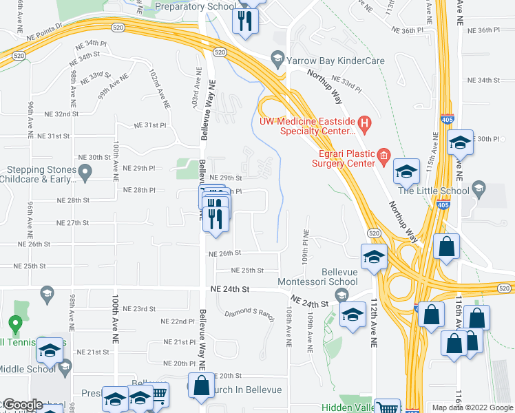 map of restaurants, bars, coffee shops, grocery stores, and more near 10704 Northeast 28th Street in Bellevue