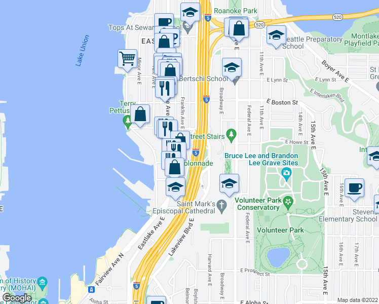 map of restaurants, bars, coffee shops, grocery stores, and more near 1808 Franklin Avenue East in Seattle