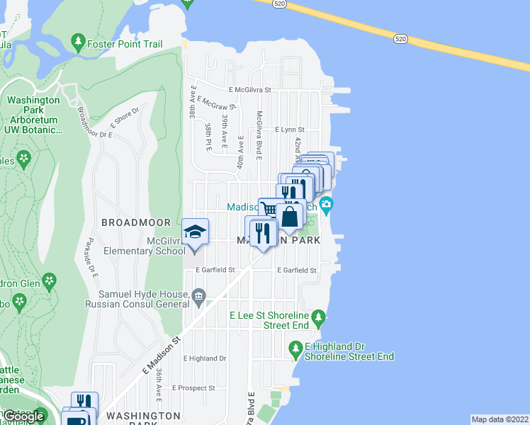 map of restaurants, bars, coffee shops, grocery stores, and more near 1838 McGilvra Boulevard East in Seattle