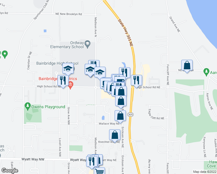 map of restaurants, bars, coffee shops, grocery stores, and more near 273-275 High School Road Northeast in Bainbridge Island