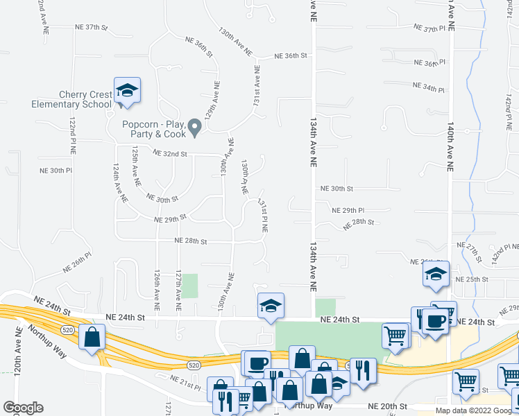 map of restaurants, bars, coffee shops, grocery stores, and more near 2905 131st Place Northeast in Bellevue