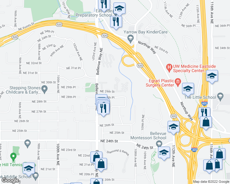 map of restaurants, bars, coffee shops, grocery stores, and more near 10600 Northeast 29th Street in Bellevue