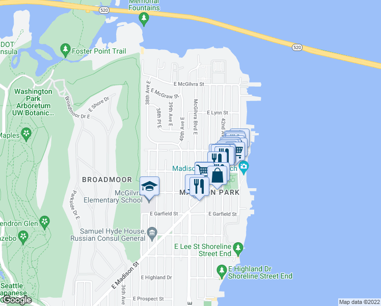 map of restaurants, bars, coffee shops, grocery stores, and more near 4025 East Newton Street in Seattle