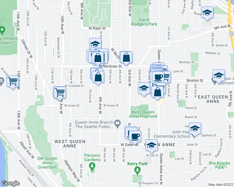 map of restaurants, bars, coffee shops, grocery stores, and more near 1937 4th Ave W in Seattle