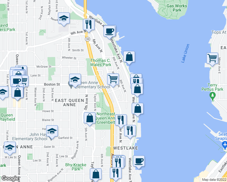 map of restaurants, bars, coffee shops, grocery stores, and more near Dexter Avenue North & Crockett Street in Seattle