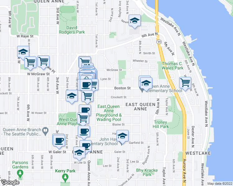 map of restaurants, bars, coffee shops, grocery stores, and more near 2110 2nd Avenue North in Seattle