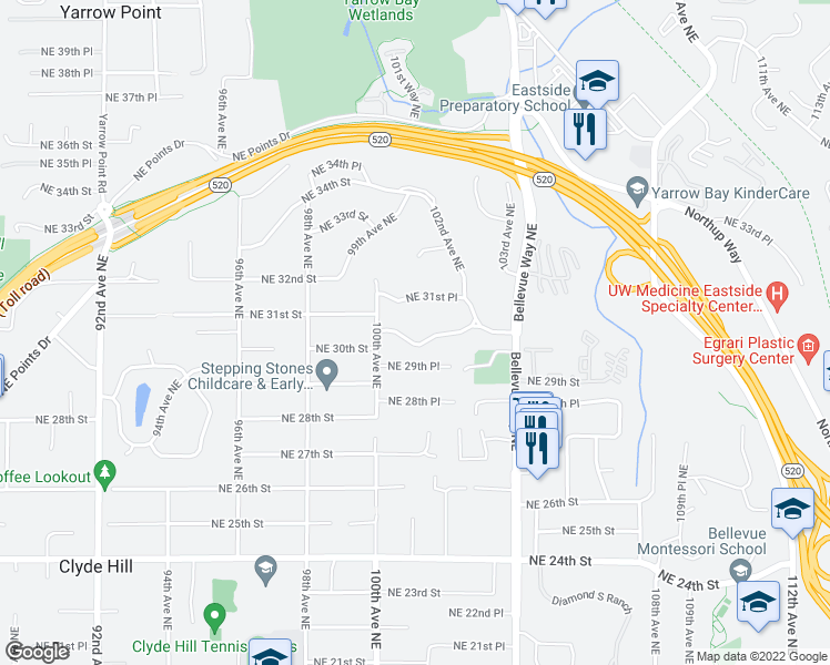 map of restaurants, bars, coffee shops, grocery stores, and more near 10032 Northeast 30th Place in Bellevue