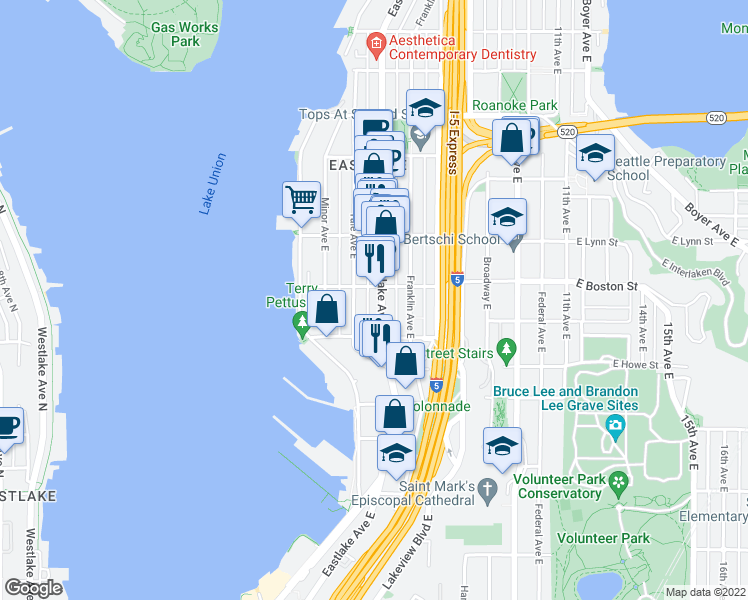 map of restaurants, bars, coffee shops, grocery stores, and more near 2035 Eastlake Avenue East in Seattle