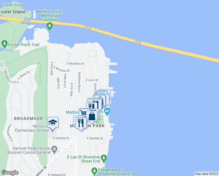 map of restaurants, bars, coffee shops, grocery stores, and more near 2040 43rd Avenue East in Seattle