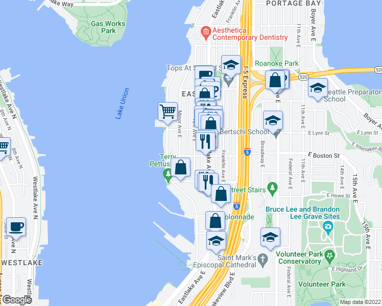 map of restaurants, bars, coffee shops, grocery stores, and more near 2203 Yale Avenue East in Seattle