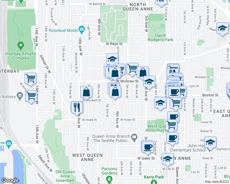 map of restaurants, bars, coffee shops, grocery stores, and more near 2125 6th Avenue West in Seattle