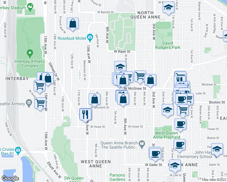 map of restaurants, bars, coffee shops, grocery stores, and more near 2155 7th Avenue West in Seattle