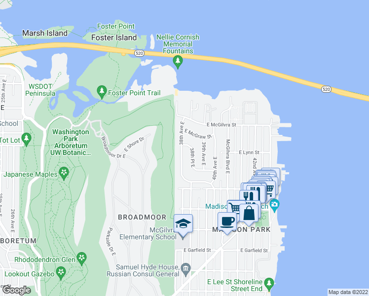 map of restaurants, bars, coffee shops, grocery stores, and more near 2257 38th Place East in Seattle