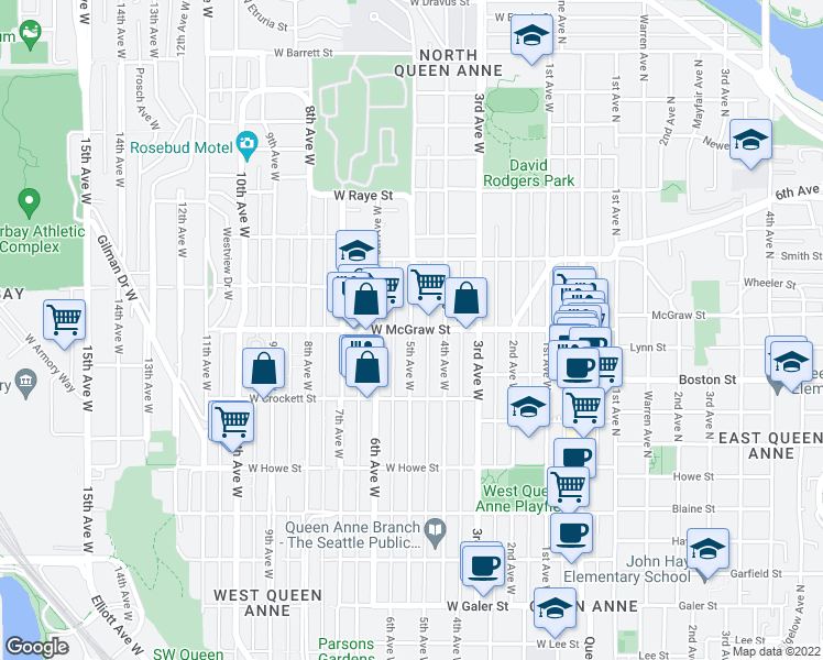 map of restaurants, bars, coffee shops, grocery stores, and more near West McGraw Street & 5th Avenue West in Seattle
