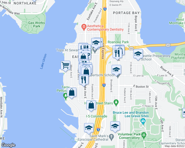 map of restaurants, bars, coffee shops, grocery stores, and more near E Lynn St & Franklin Ave E in Seattle